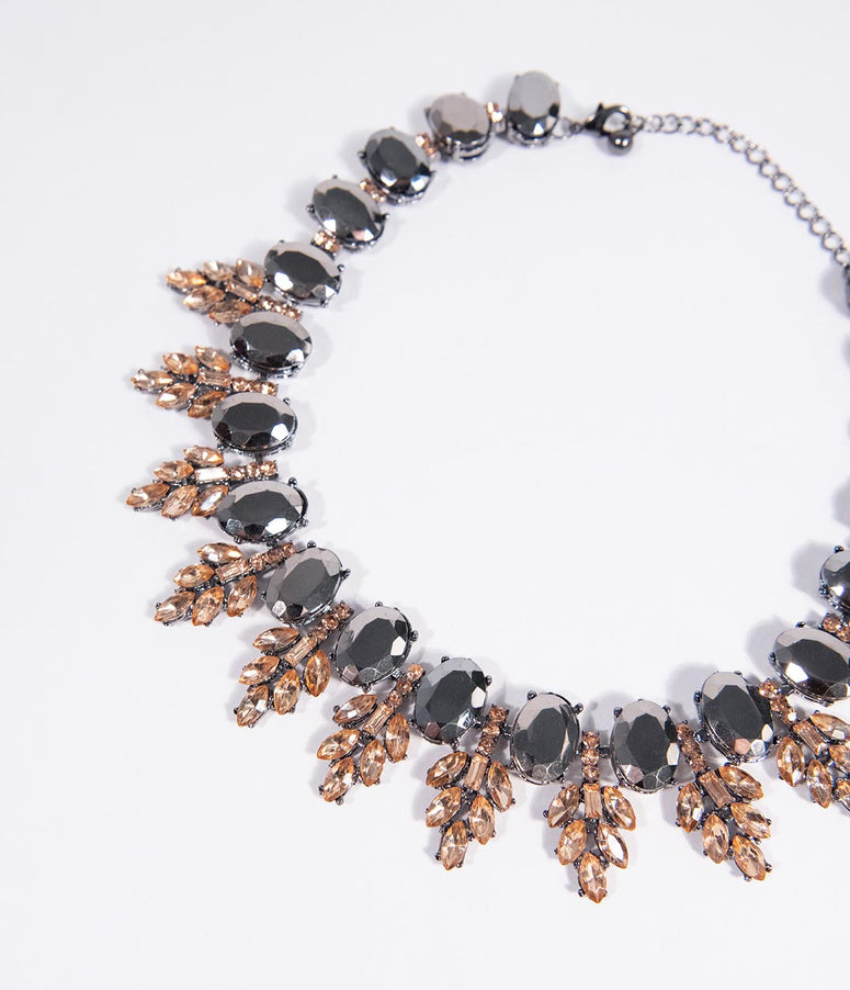 Gunmetal Stone & Peach Crystal Statement Necklace