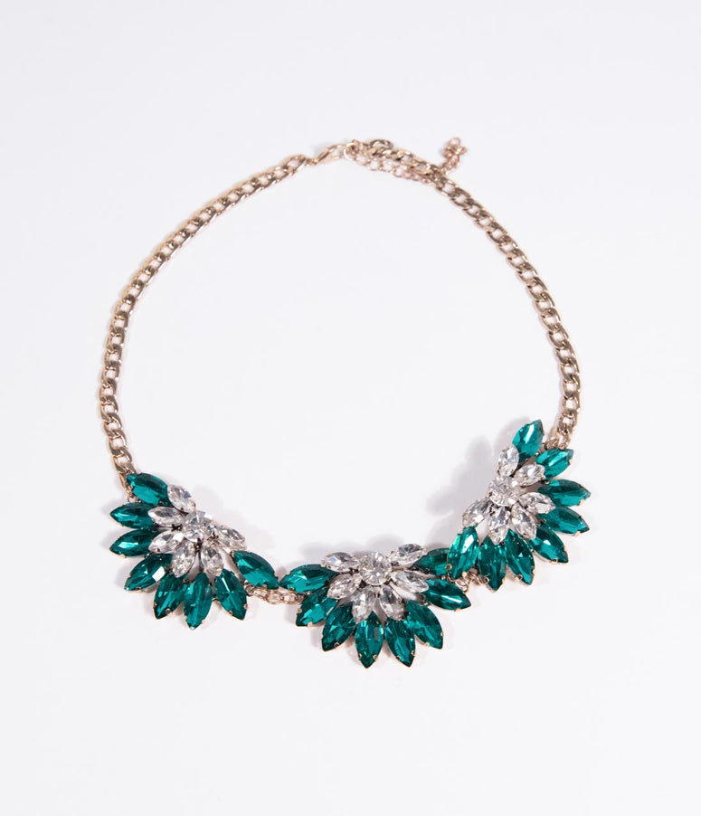 Teal Crystal & Silver Rhinestone Statement Necklace