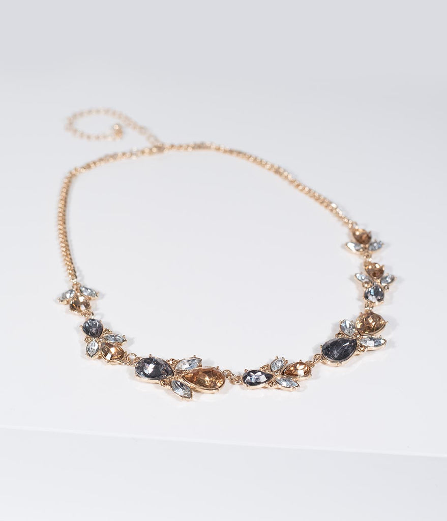 Deco Style Amber & Smokey Crystal Statement Necklaces