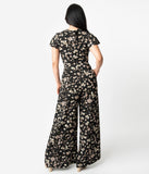 Unique Vintage 1960s Black & Cream Floral Short Sleeve Orleans Jumpsuit