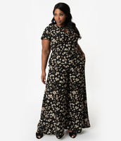 Plus Size Flutter Short Sleeves Sleeves Crepe Floral Print Pocketed Vintage Keyhole Self Tie Button Front Jumpsuit With a Bow(s)