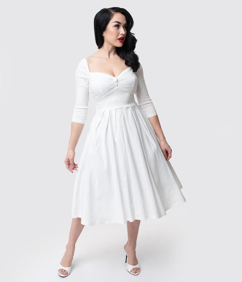 Unique Vintage 1950s Style Ivory Bengaline Sweetheart Lamar Swing Dress