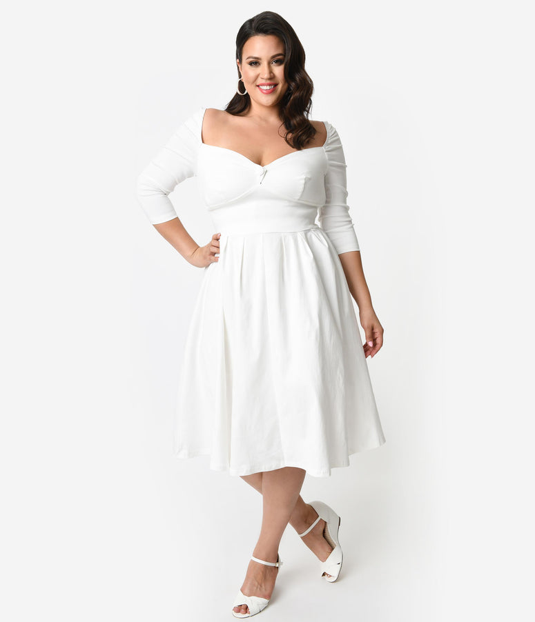 49bd7be6117e Unique Vintage Plus Size 1950s Style Ivory Bengaline Sweetheart Lamar Swing  Dress