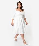 Unique Vintage Plus Size 1950s Style Ivory Bengaline Sweetheart Lamar Swing Dress