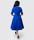 Unique Vintage 1950s Royal Blue Delores Swing Dress with Sleeves