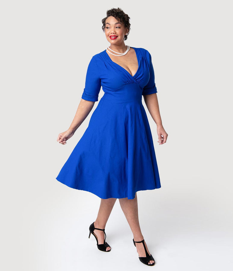 Unique Vintage Plus Size 1950s Royal Blue Delores Swing Dress with Sleeves
