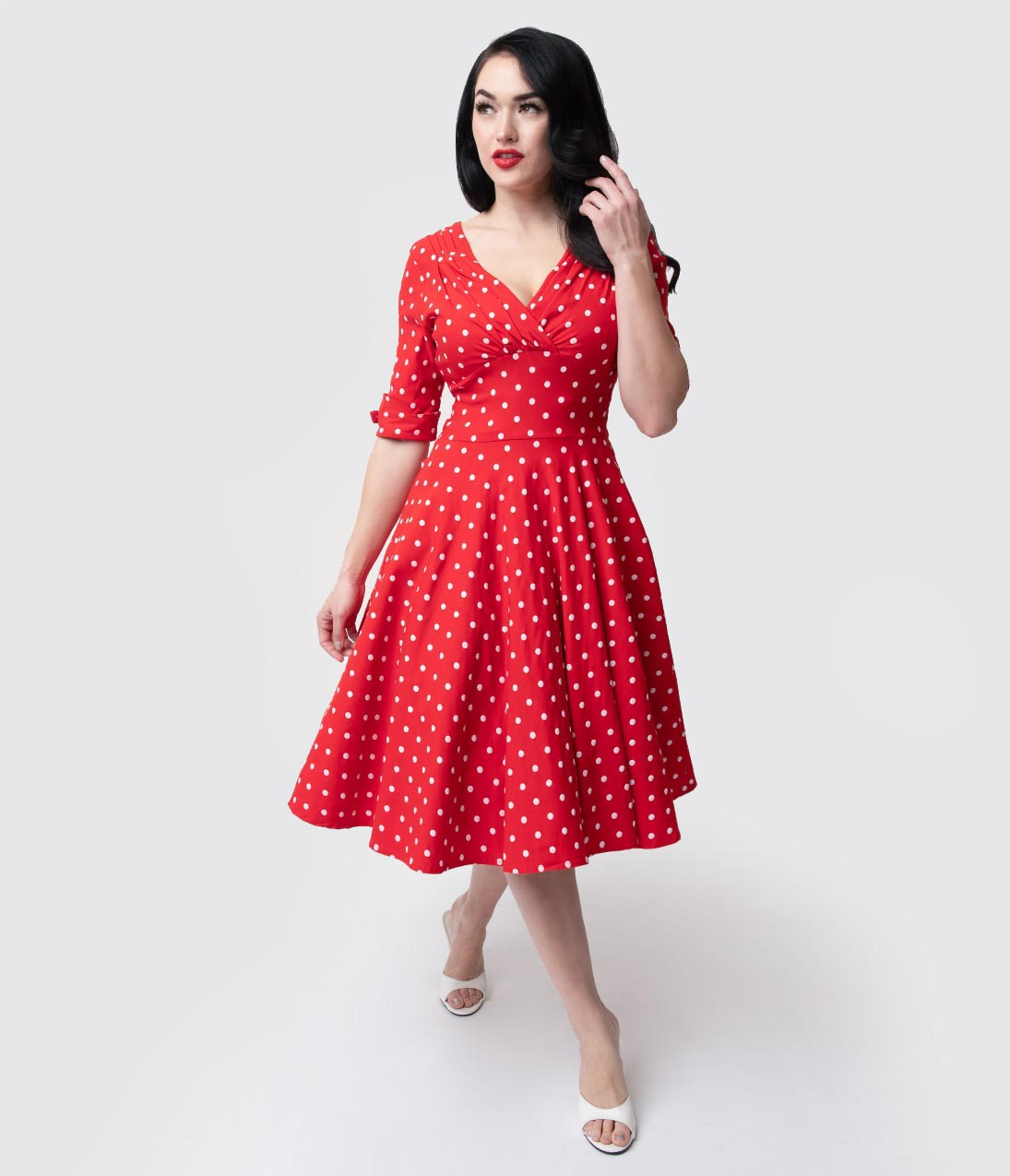 Rockabilly Dresses | Rockabilly Clothing | Viva Las Vegas Unique Vintage 1950S Red  White Dot Delores Swing Dress With Sleeves $92.00 AT vintagedancer.com