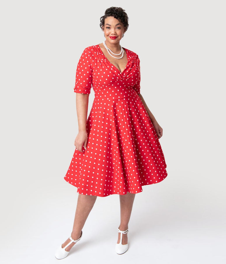 e4a6ac4a63d3 Unique Vintage Plus Size 1950s Red   White Dot Delores Swing Dress with  Sleeves