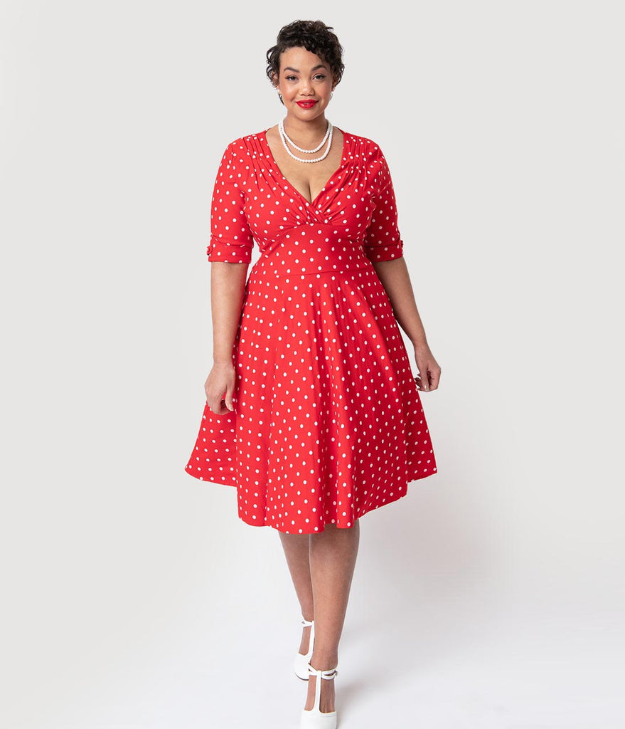 Unique Vintage Plus Size 1950s Red & White Dot Delores Swing Dress with Sleeves
