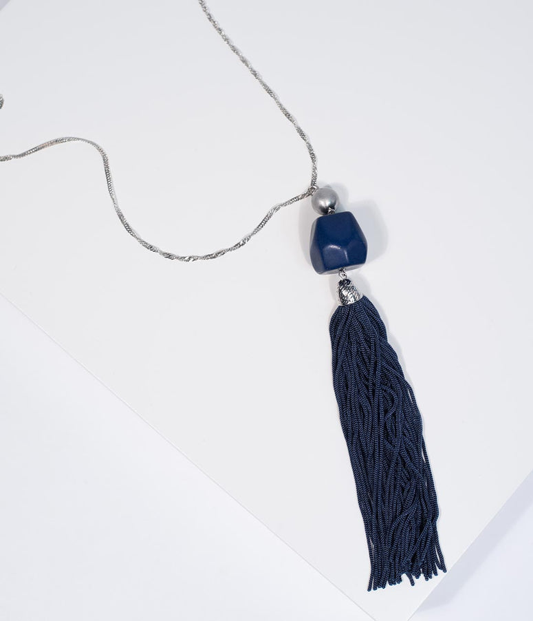 Silver & Navy Blue Fringe Tassel Necklace