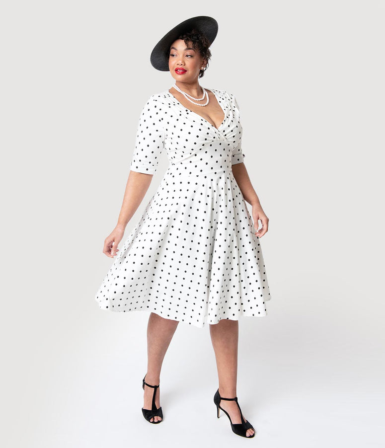 63ff5cff49b0c Unique Vintage Plus Size 1950s White   Black Dot Delores Swing Dress with  Sleeves