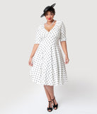 Unique Vintage Plus Size 1950s White & Black Dot Delores Swing Dress with Sleeves