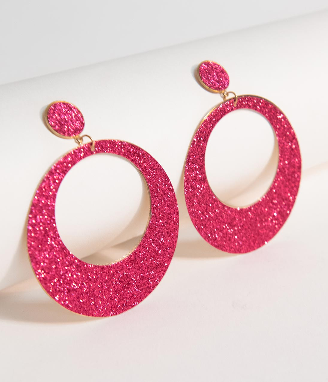 Vintage Style Jewelry, Retro Jewelry Pink Glitter Hoop Circle Drop Earrings $12.00 AT vintagedancer.com