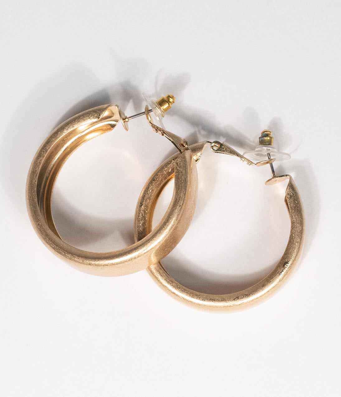 50s Jewelry: Earrings, Necklace, Brooch, Bracelet Matte Gold Hoop Earrings $12.00 AT vintagedancer.com