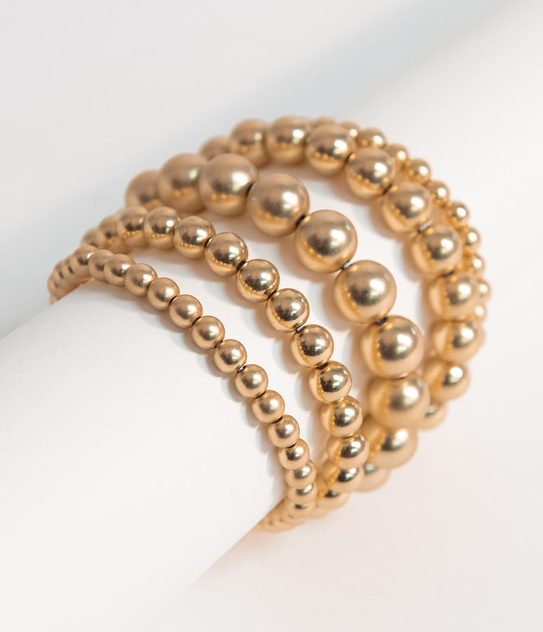 Golden Stone Beaded Stretch Bracelet