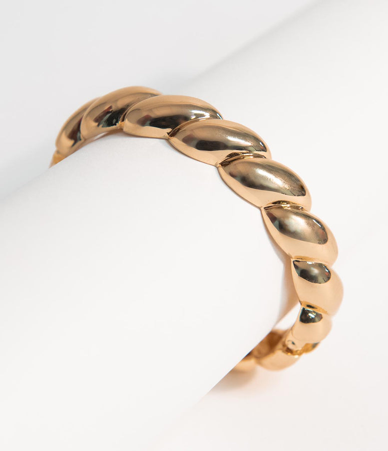 Gold Metal Twisted Bracelet