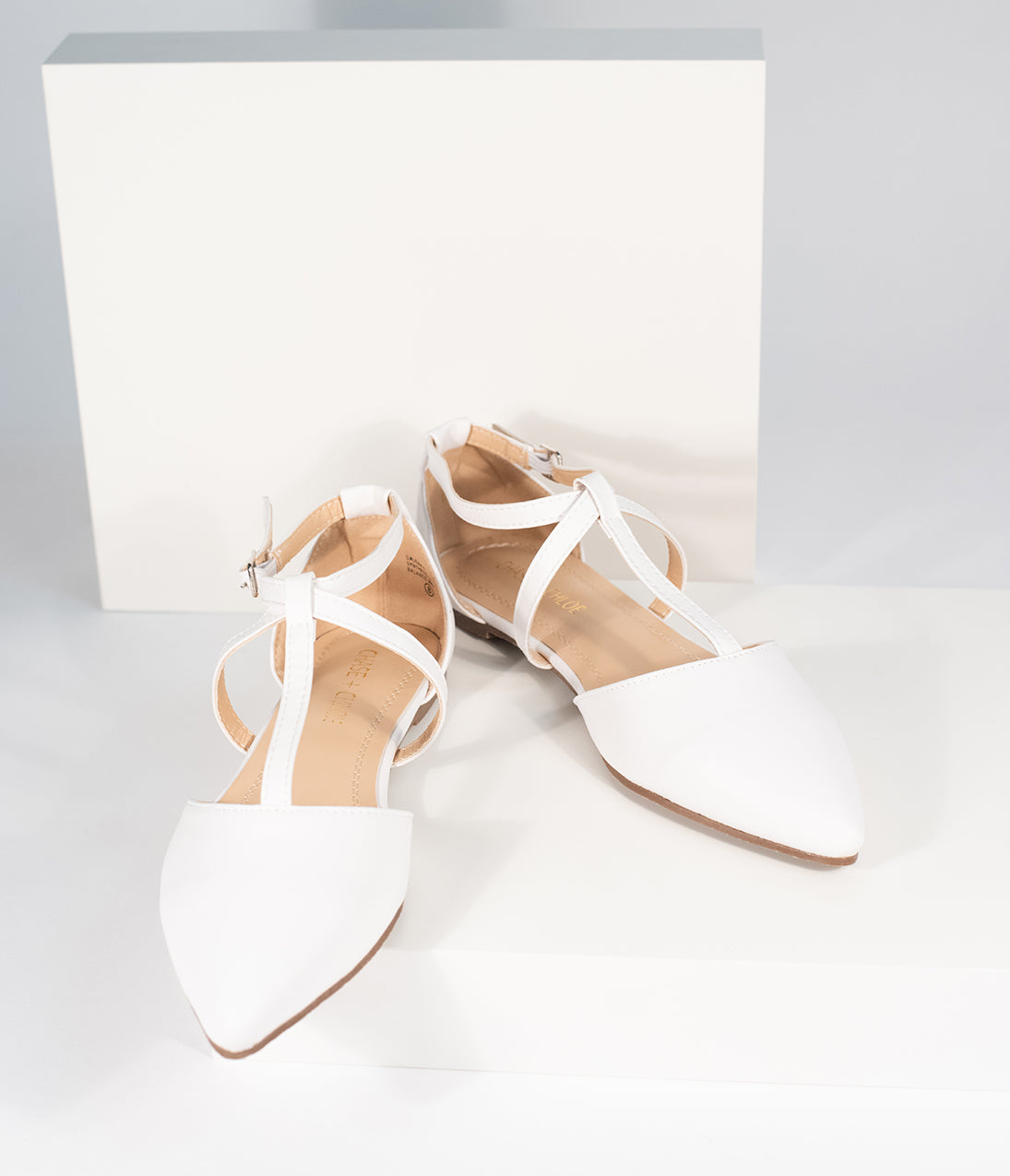 Vintage Wedding Shoes, Flats, Boots, Heels White Leatherette Pointed Toe Dalena T-Strap Flat Sandals $32.00 AT vintagedancer.com