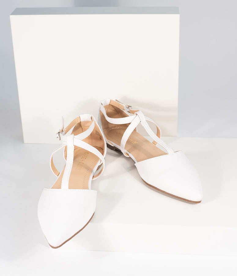 White Leatherette Pointed Toe Dalena T-Strap Flat Sandals