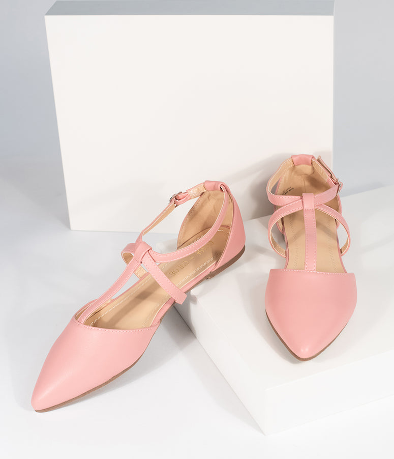 Light Pink Leatherette Pointed Toe Dalena T-Strap Flat Sandals