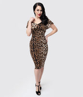 Sexy Animal Leopard Print Knit Cowl Neck Portrait Neck Cap Flutter Sleeves Off the Shoulder Vintage Fitted Dress With Ruffles