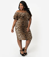 Plus Size Sexy Cowl Neck Portrait Neck Cap Flutter Sleeves Off the Shoulder Fitted Vintage Animal Leopard Print Knit Dress With Ruffles