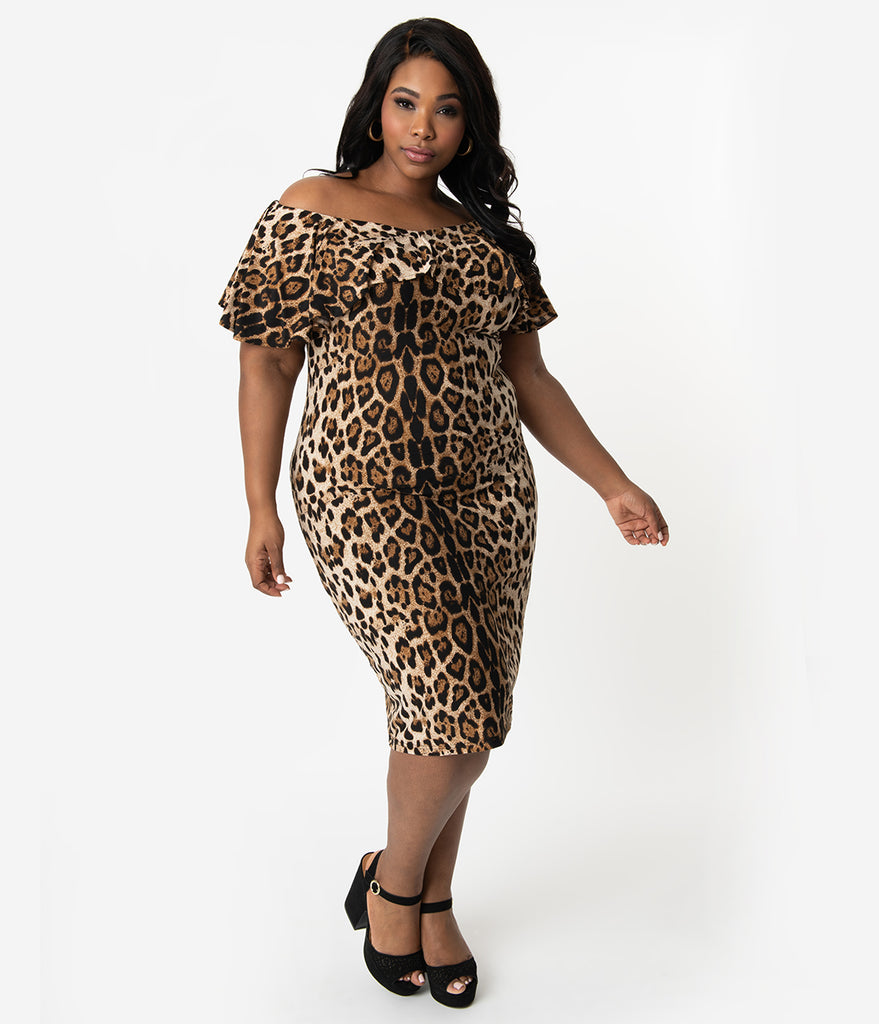 Unique Vintage Plus Size Leopard Print Knit Ruffle Sophia Wiggle Dress