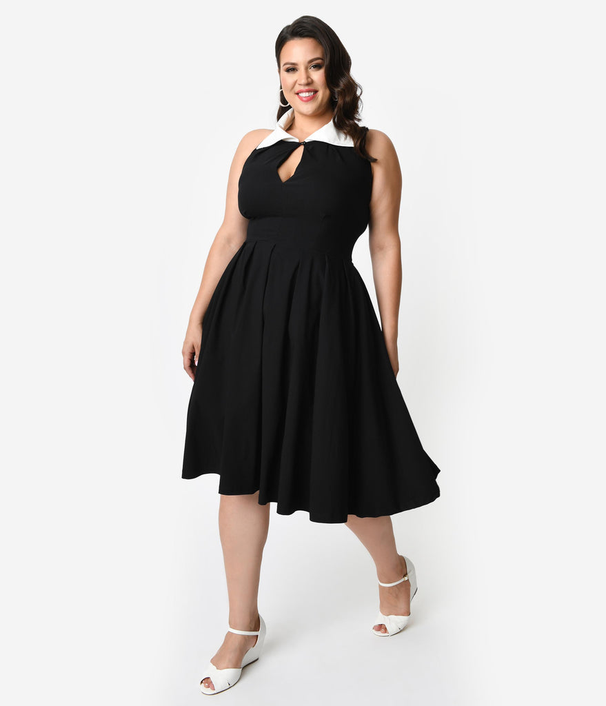 Unique Vintage Plus Size 1950s Black & White Collar Halter Verdon Swing Dress