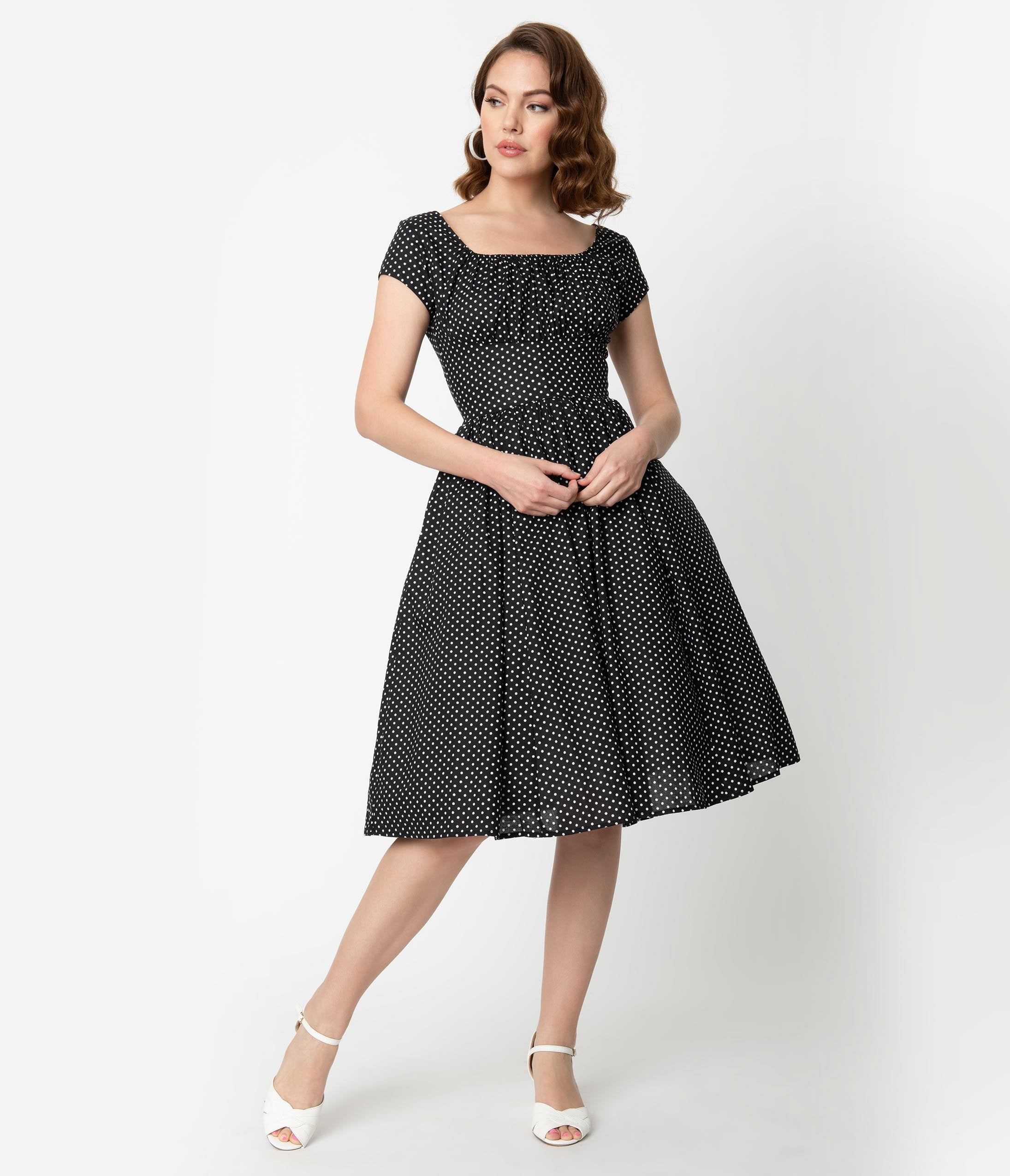 a35267cd4dc Vintage Polka Dot Dresses – 50s Spotty and Ditsy Prints Unique Vintage  Black White Dot Cap