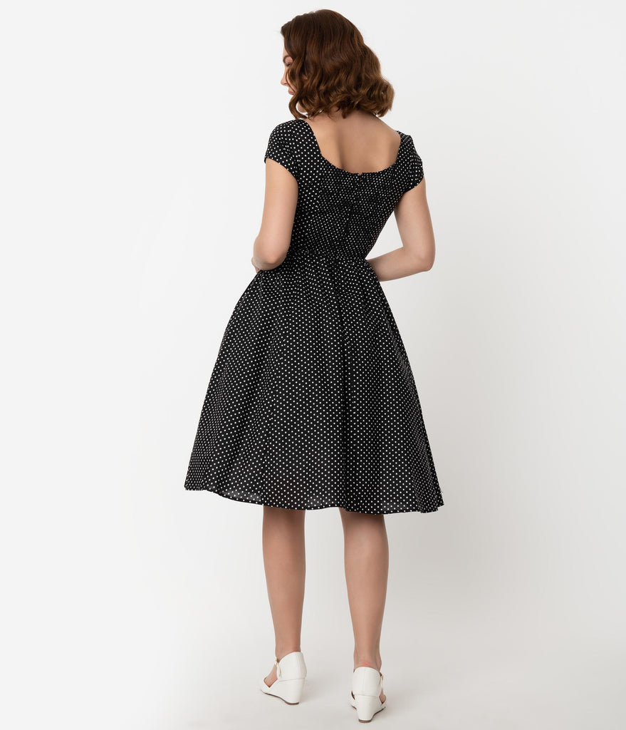 Unique Vintage Black & White Dot Cap Sleeve Valencia Swing Dress