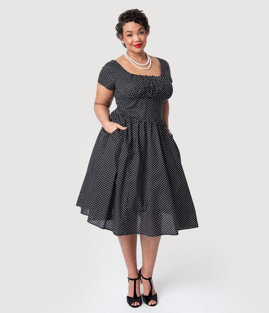 Unique Vintage Plus Size Black & White Polka Dot Valencia Swing Dress