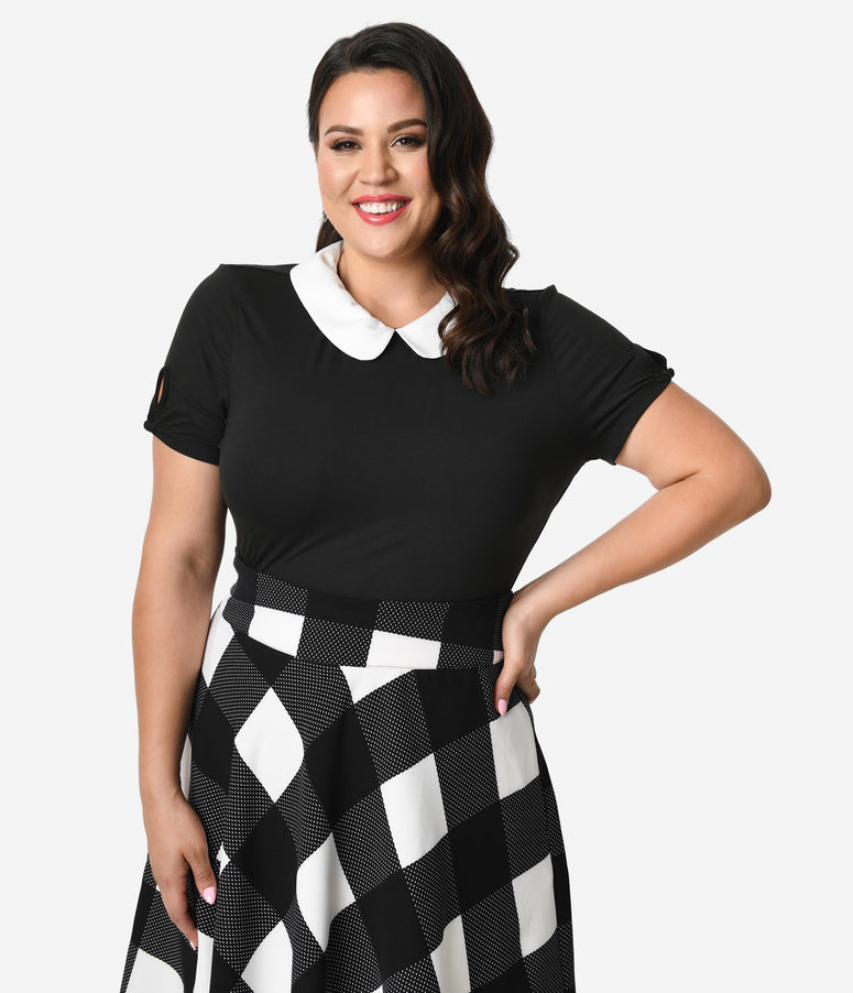 Unique Vintage Plus Size 1950s Black & White High Collar Short Sleeve Robin Blouse