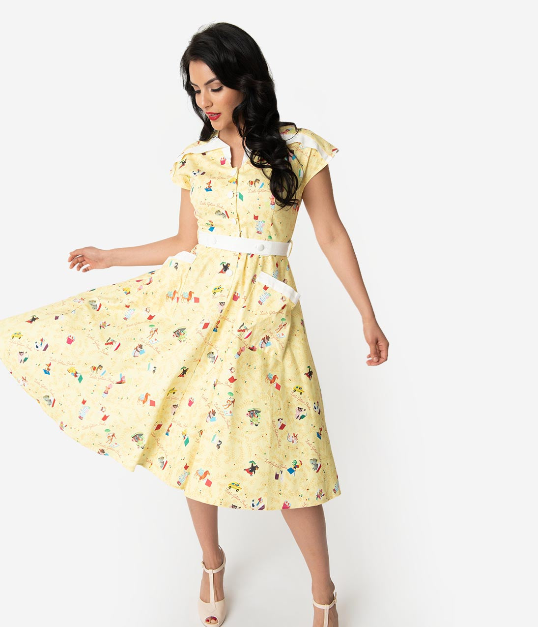 1940s Fashion Advice for Tall Women Little Golden Books X Unique Vintage Yellow Print Hedda Swing Dress $148.00 AT vintagedancer.com