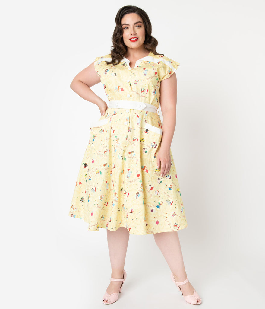 Little Golden Books x Unique Vintage Plus Size Yellow Print Hedda Swing Dress