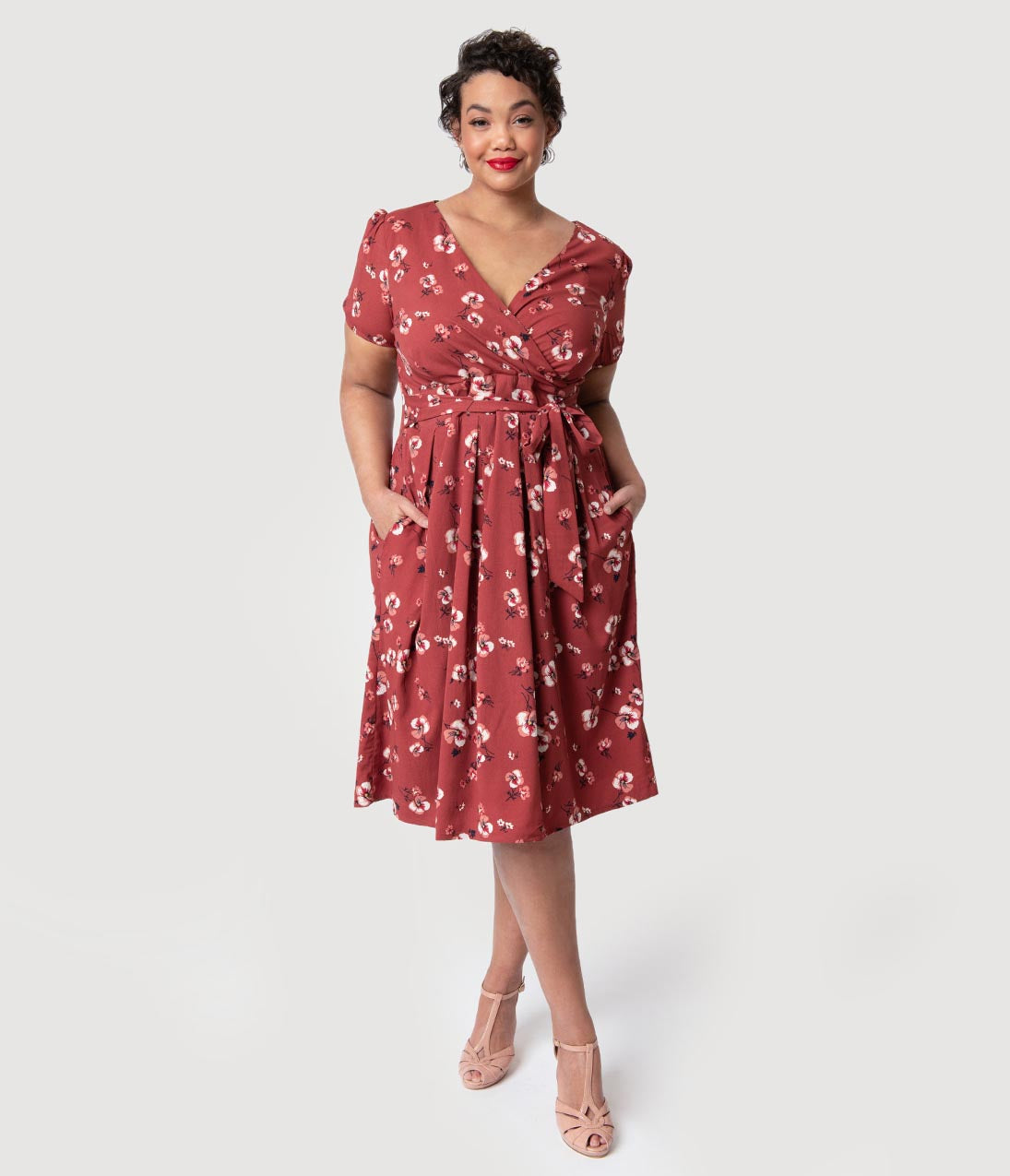 1940s Dresses | 40s Dress, Swing Dress Plus Size 1940S Style Dark Pink Floral Short Sleeve Katelyn Midi Dress $68.00 AT vintagedancer.com