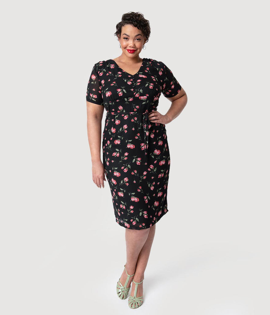 f5f00c1b44f0d Plus Size 1960s Style Black   Pink Floral Dahlia Pencil Dress – Unique  Vintage