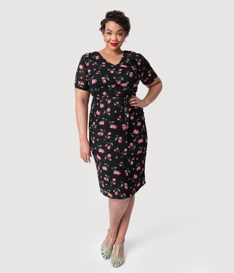 Plus Size 1960s Style Black & Pink Floral Dahlia Pencil Dress