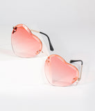 Pink Metal Heartthrob Sunglasses