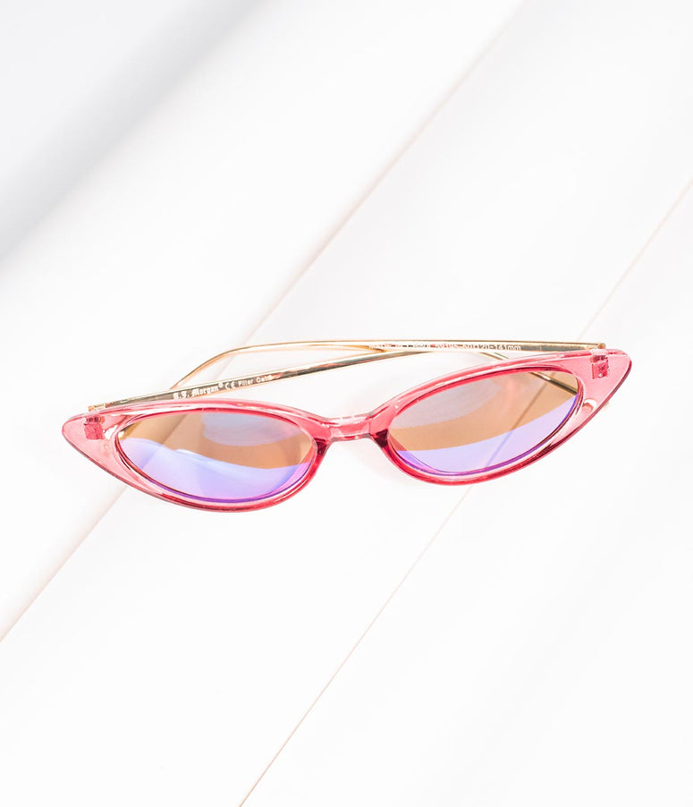 Retro Style Clear Pink Sizzler Narrow Cat Eye Sunglasses