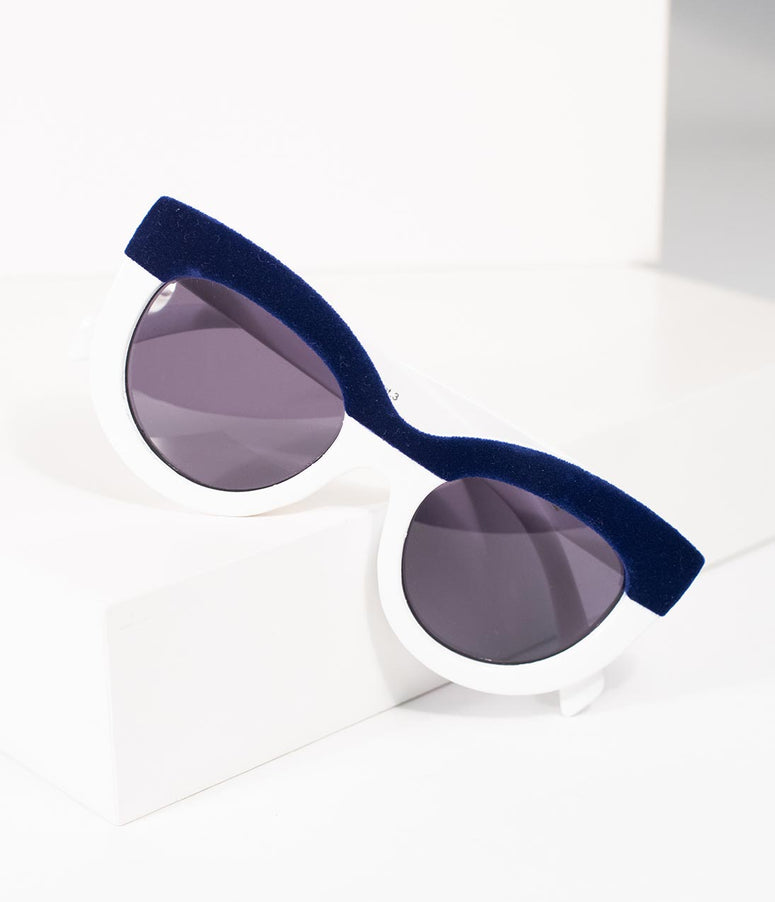 White & Navy Velvet Cavalcade Cat Eye Sunglasses
