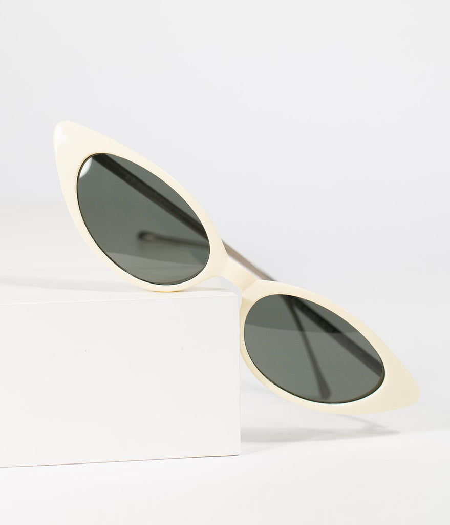 Retro Style Ivory Dazzle Narrow Cat Eye Sunglasses