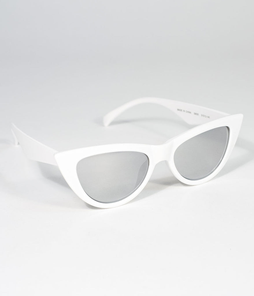 Vintage Style White Sling Cat Eye Sunglasses
