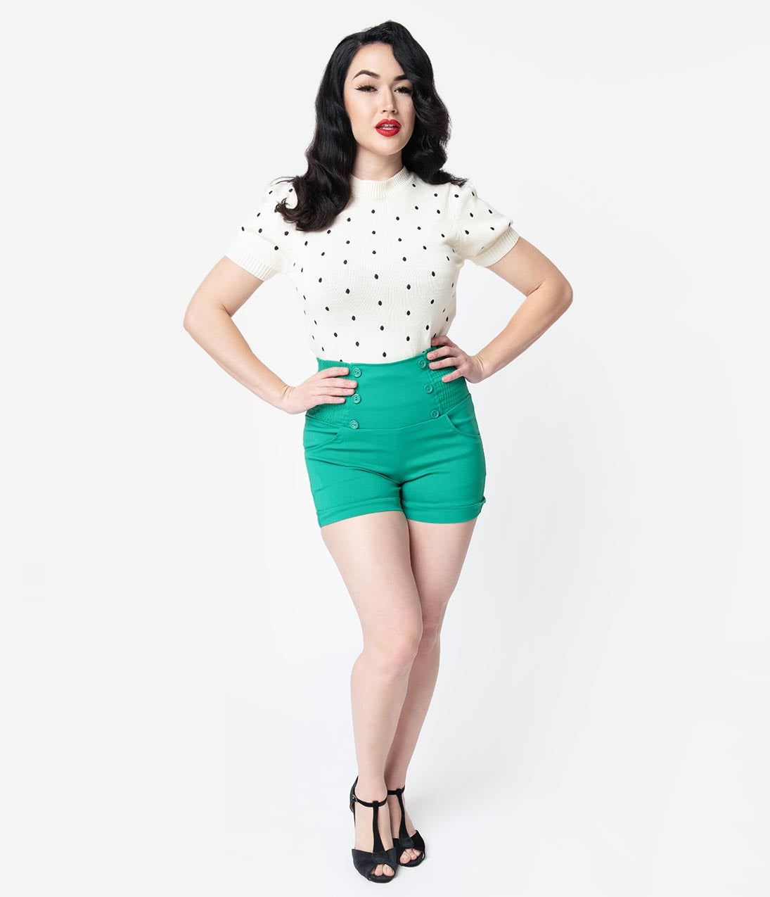1950s Shorts History | Summer Clothing Retro Style Green High Waist Stretch Sailor Shorts $28.00 AT vintagedancer.com