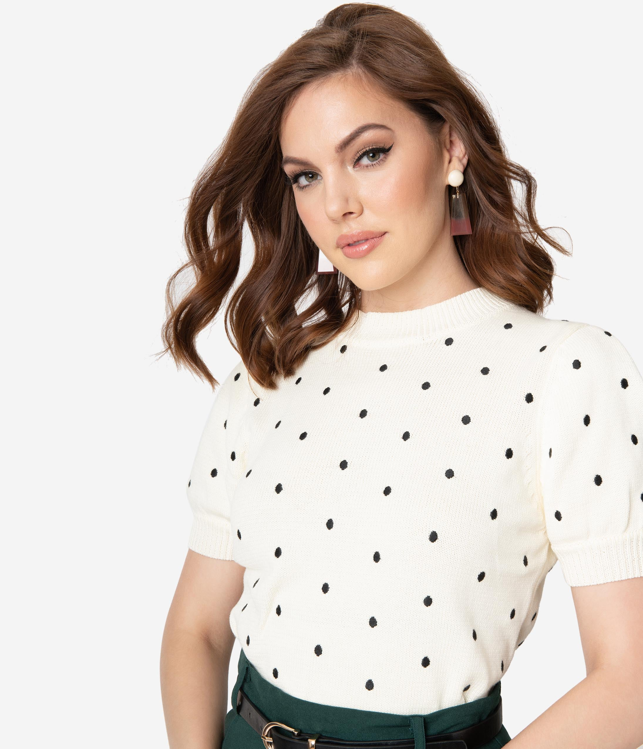1950s Tops and Blouse Styles Cream  Black Polka Dot Short Sleeve Cotton Knit Sweater $42.00 AT vintagedancer.com