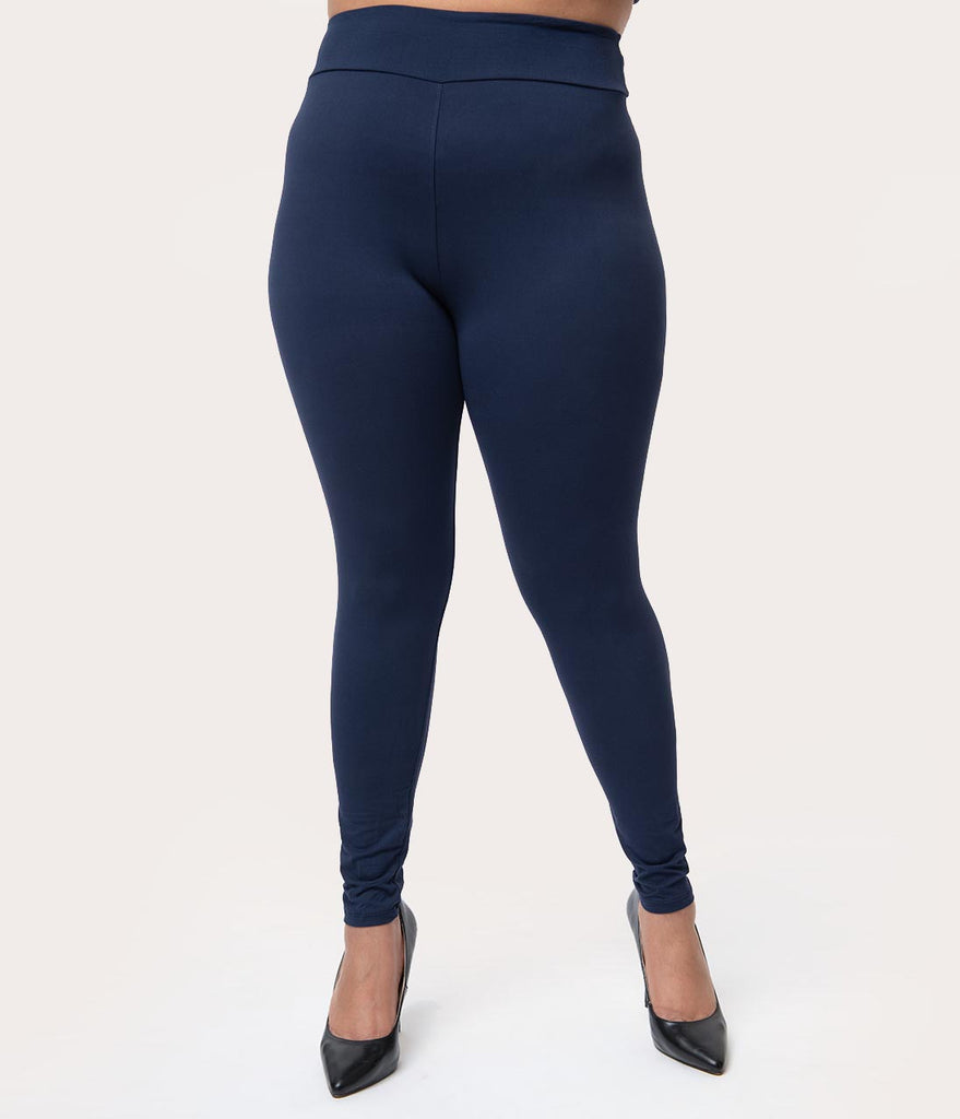d21c995da52f3a Plus Size 1950s Pin Up Style Navy High Waist Cigarette Stretch Legging – Unique  Vintage