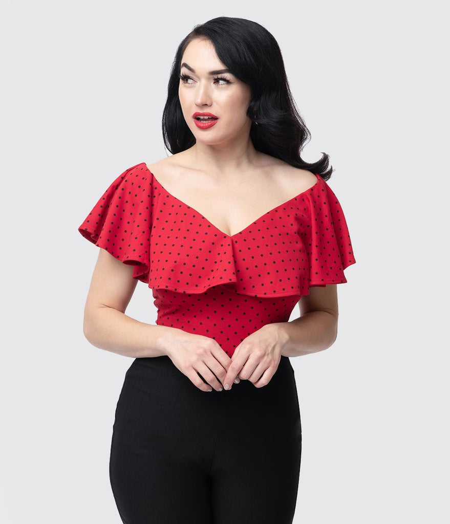 Unique Vintage 1950s Red & Black Polka Dot Off Shoulder Ruffle Frenchie Top