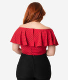 Unique Vintage Plus Size 1950s Red & Black Polka Dot Off Shoulder Ruffle Frenchie Top