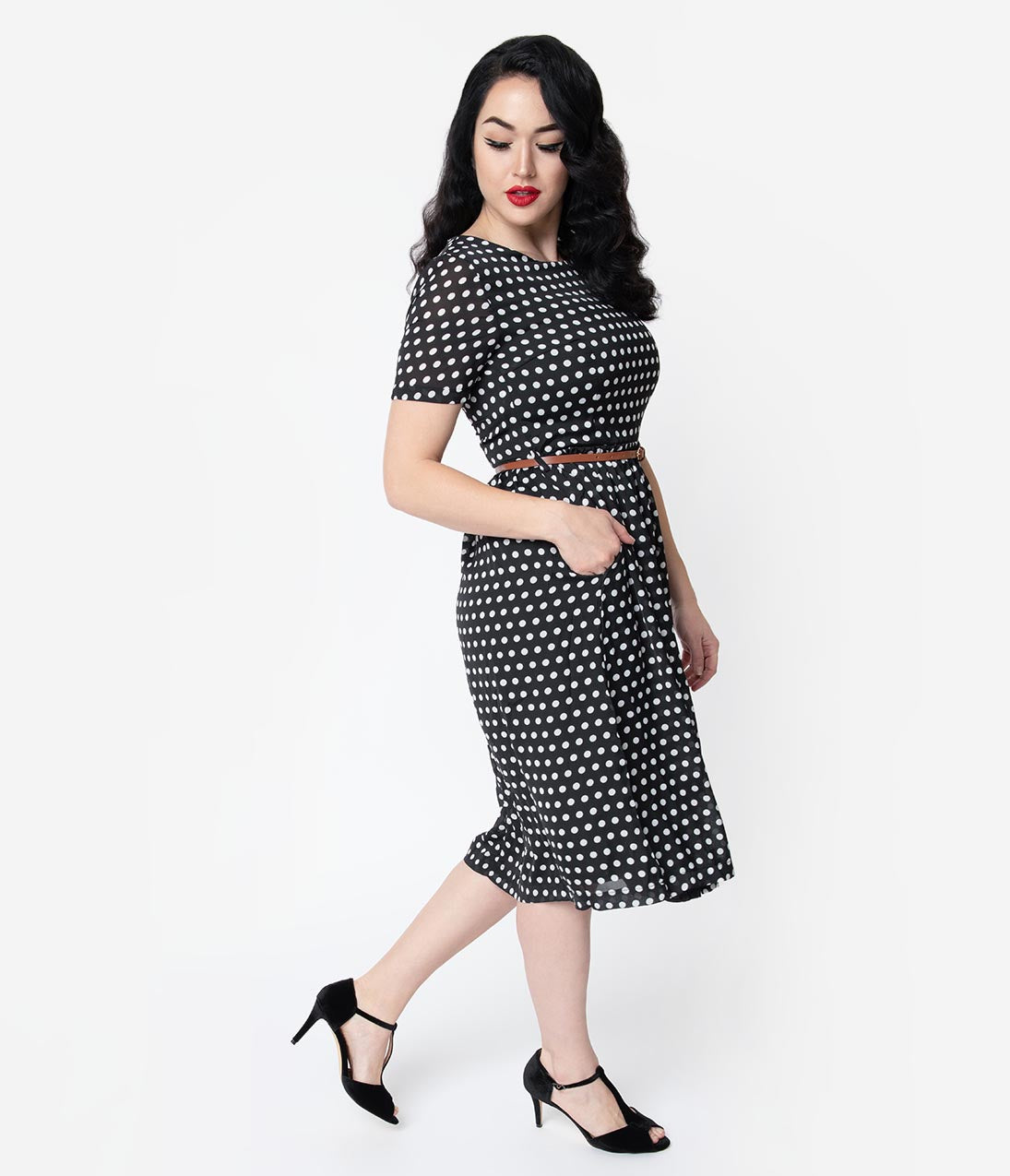 1940s Dresses | 40s Dress, Swing Dress 1940S Style Black  White Polka Dot Crepe Short Sleeve Midi Dress $44.00 AT vintagedancer.com