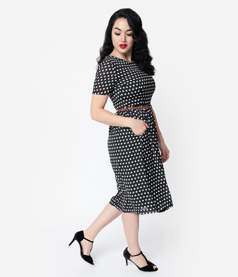 1940s Style Black & White Polka Dot Crepe Short Sleeve Midi Dress