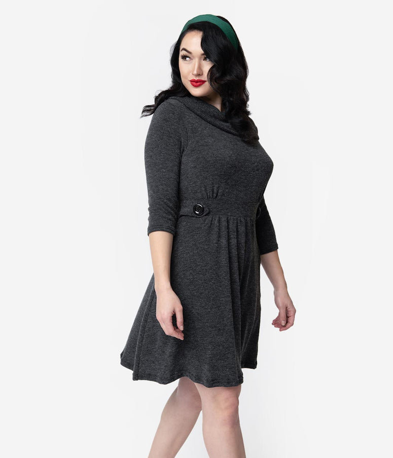 Grey Cowl Knit Sleeved Sweater Fit & Flare Dress