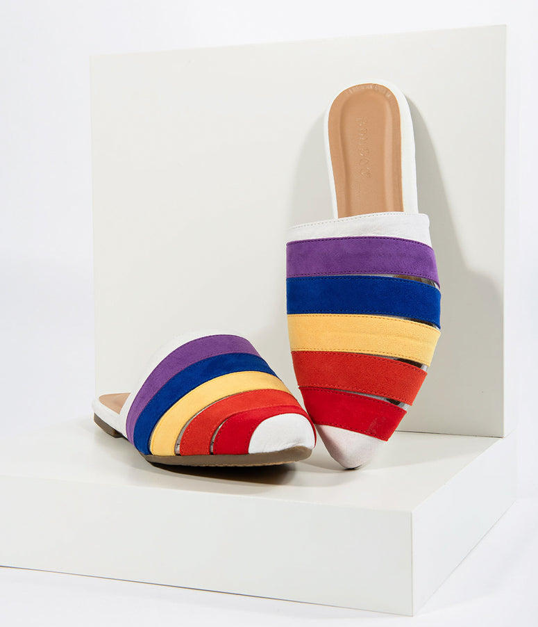 Rainbow Suede Pointed Toe Flat Slippers